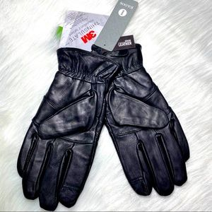 Black Leather Gloves 3M Men's Insulated Pro Text